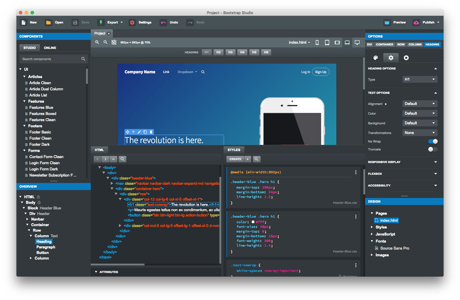 Bootstrap Studio Has A Beautiful And Powerful Interface, Which Is Built  Around The Simplicity Of Drag And Drop. This Makes It The Perfect Tool For  ...