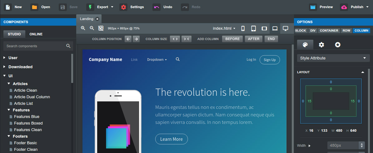 Bootstrap studio the revolutionary web design tool app interface maxwellsz