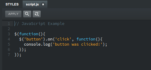 Writing JavaScript in Bootstrap Studio
